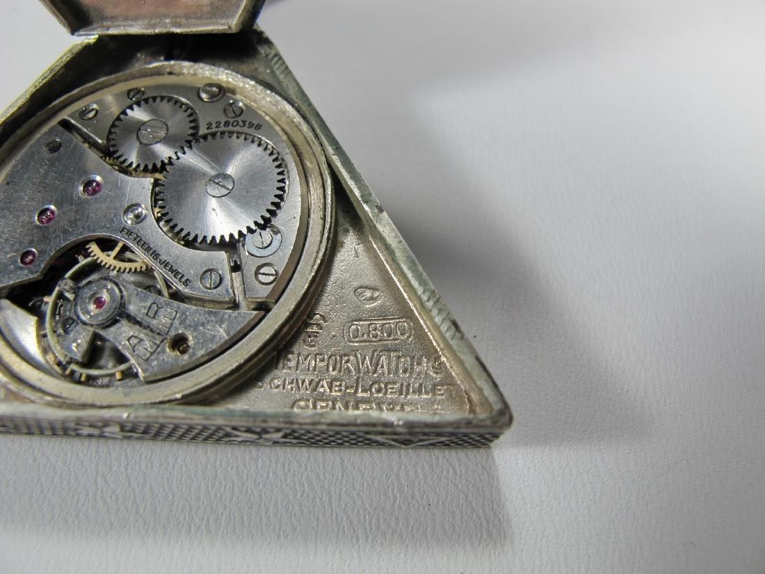 Antique Swiss 800 silver triangular pocket watch - 6