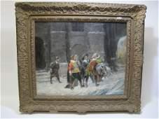Antique European oil on canvas C CHABRIER