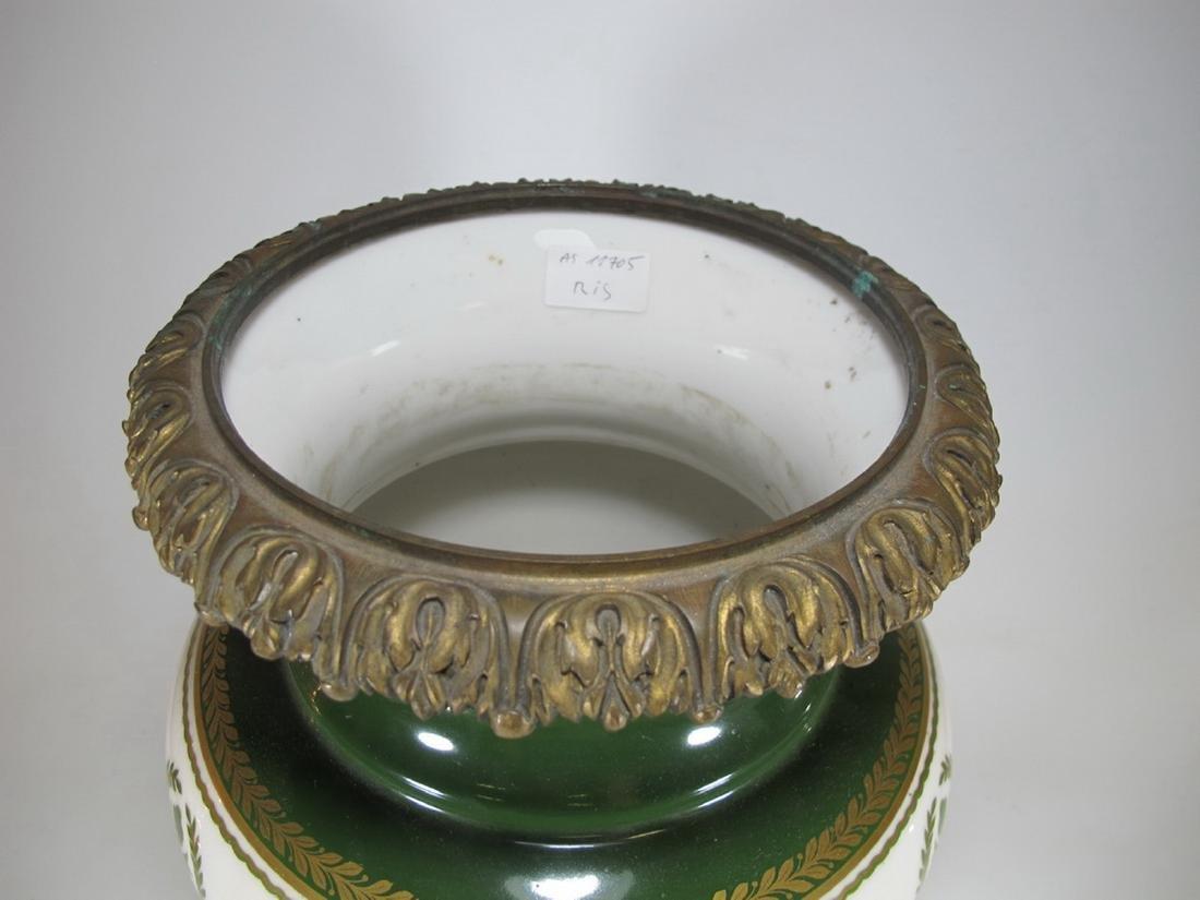 Antique French Limoges bronze & porcelain vase - 2
