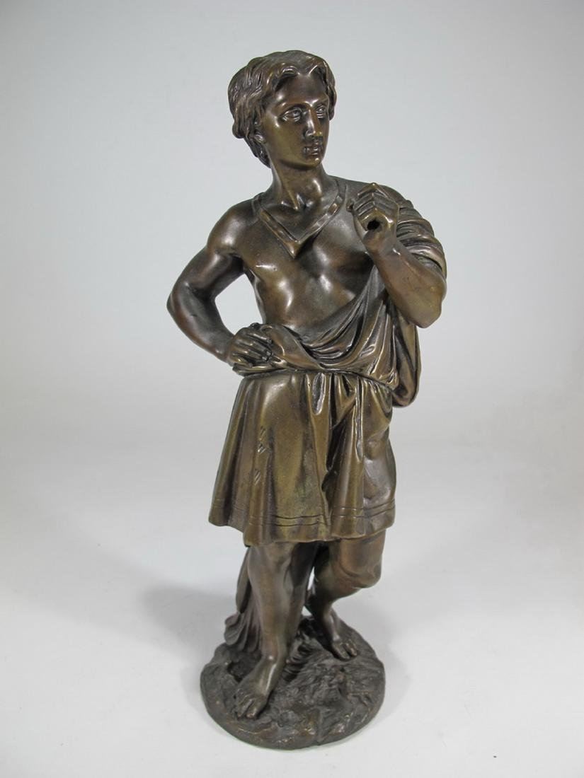 Antique French man bronze sculpture, unsigned