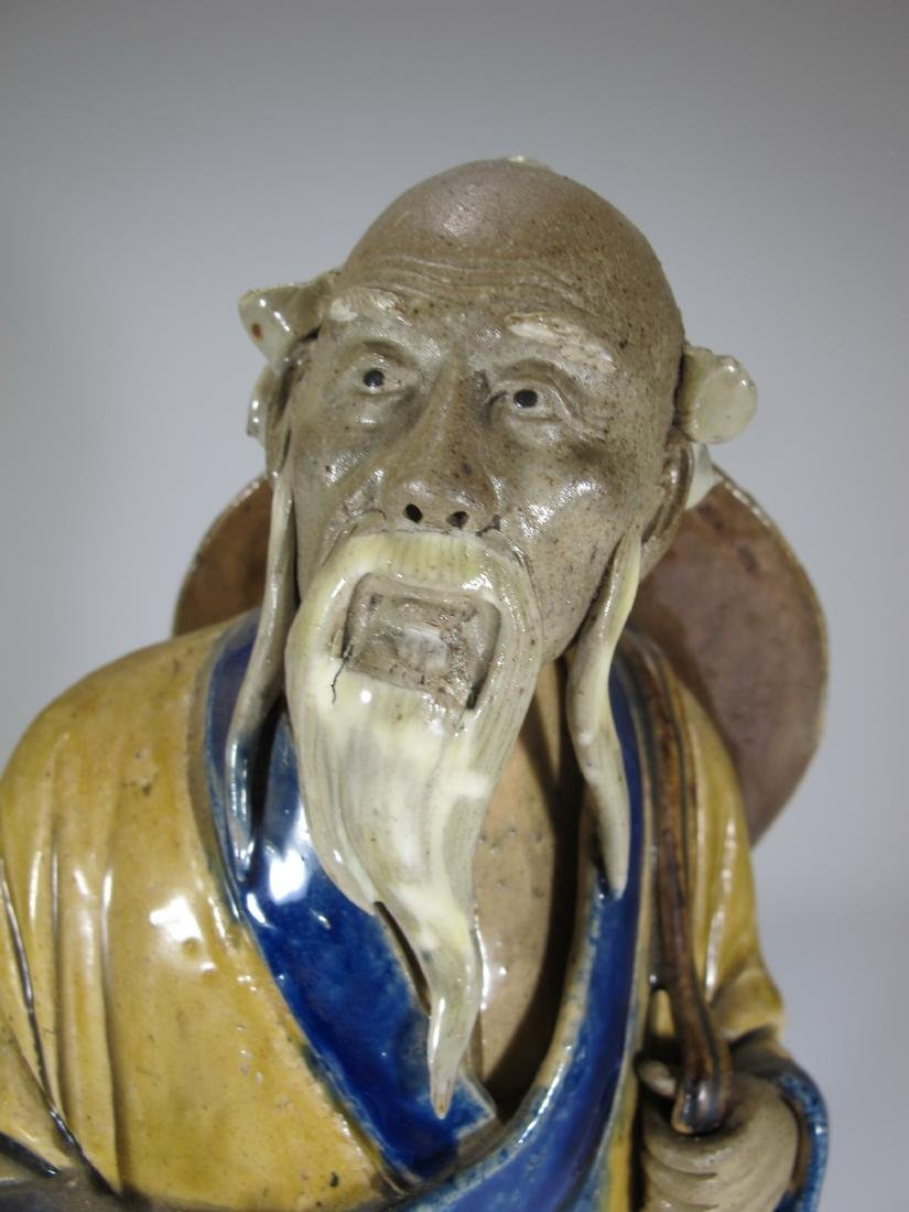 Vintage Chinese ceramic fisherman sculpture - 2