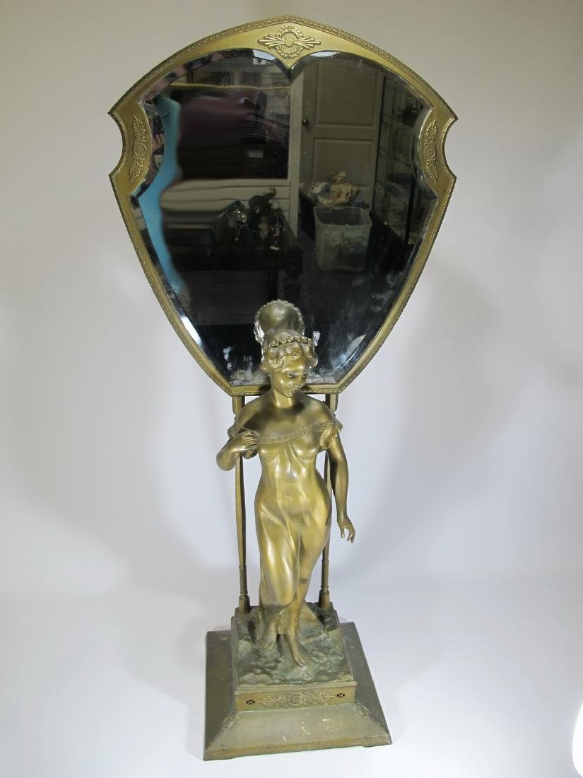 Antique French spelter vanity mirror