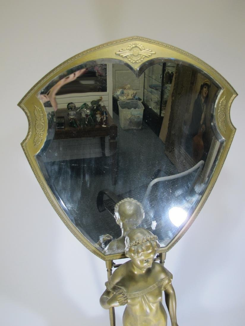 Antique French spelter vanity mirror - 2