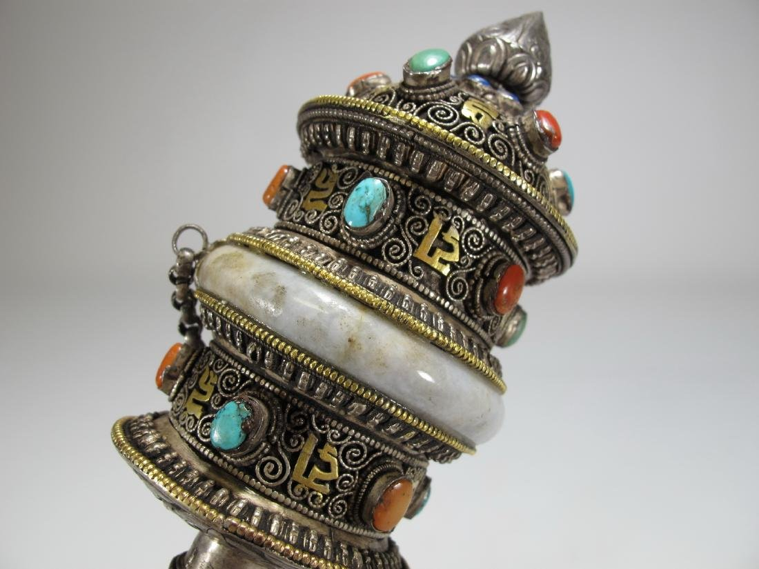 Tibetan antique jade precious stone prayer wheel - 4