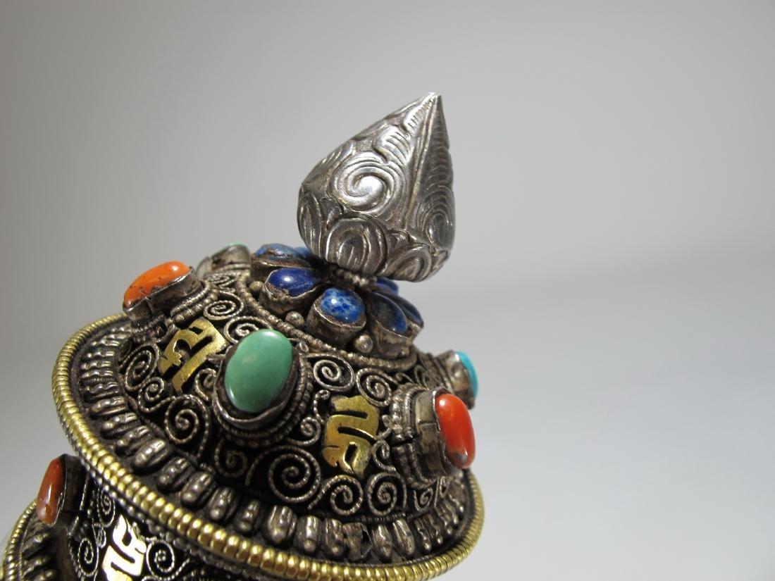 Tibetan antique jade precious stone prayer wheel - 5