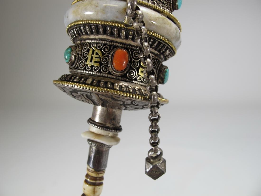 Tibetan antique jade precious stone prayer wheel - 6