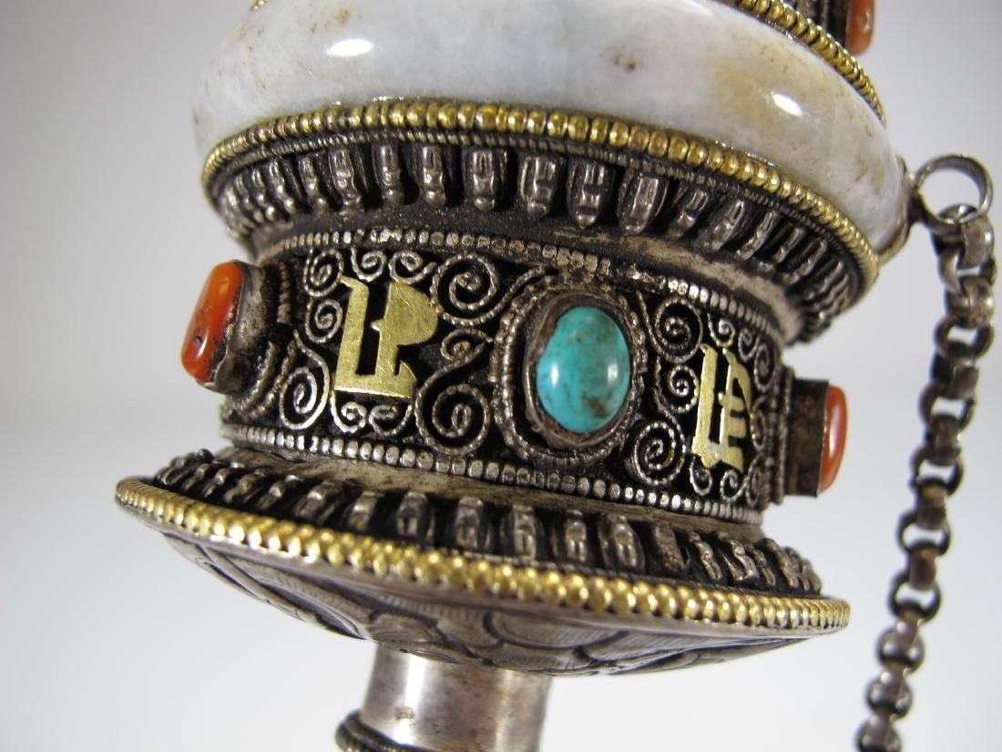 Tibetan antique jade precious stone prayer wheel - 7