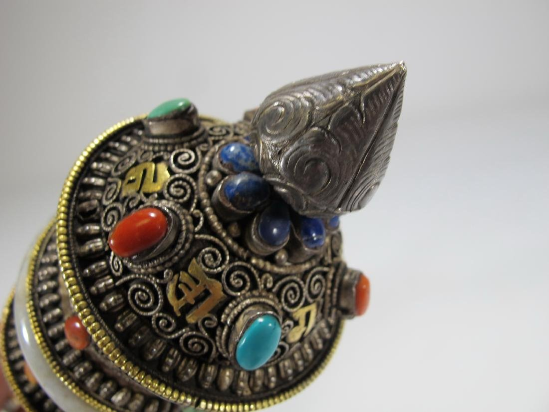 Tibetan antique jade precious stone prayer wheel - 8