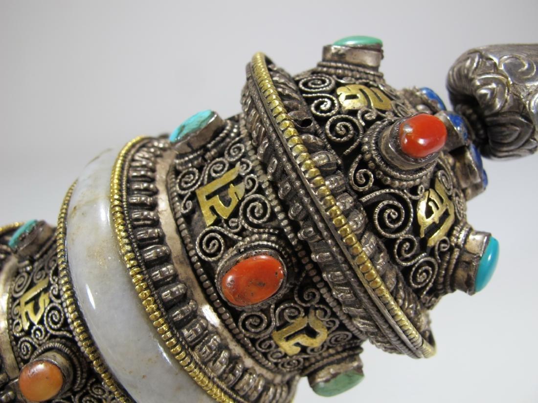 Tibetan antique jade precious stone prayer wheel - 9