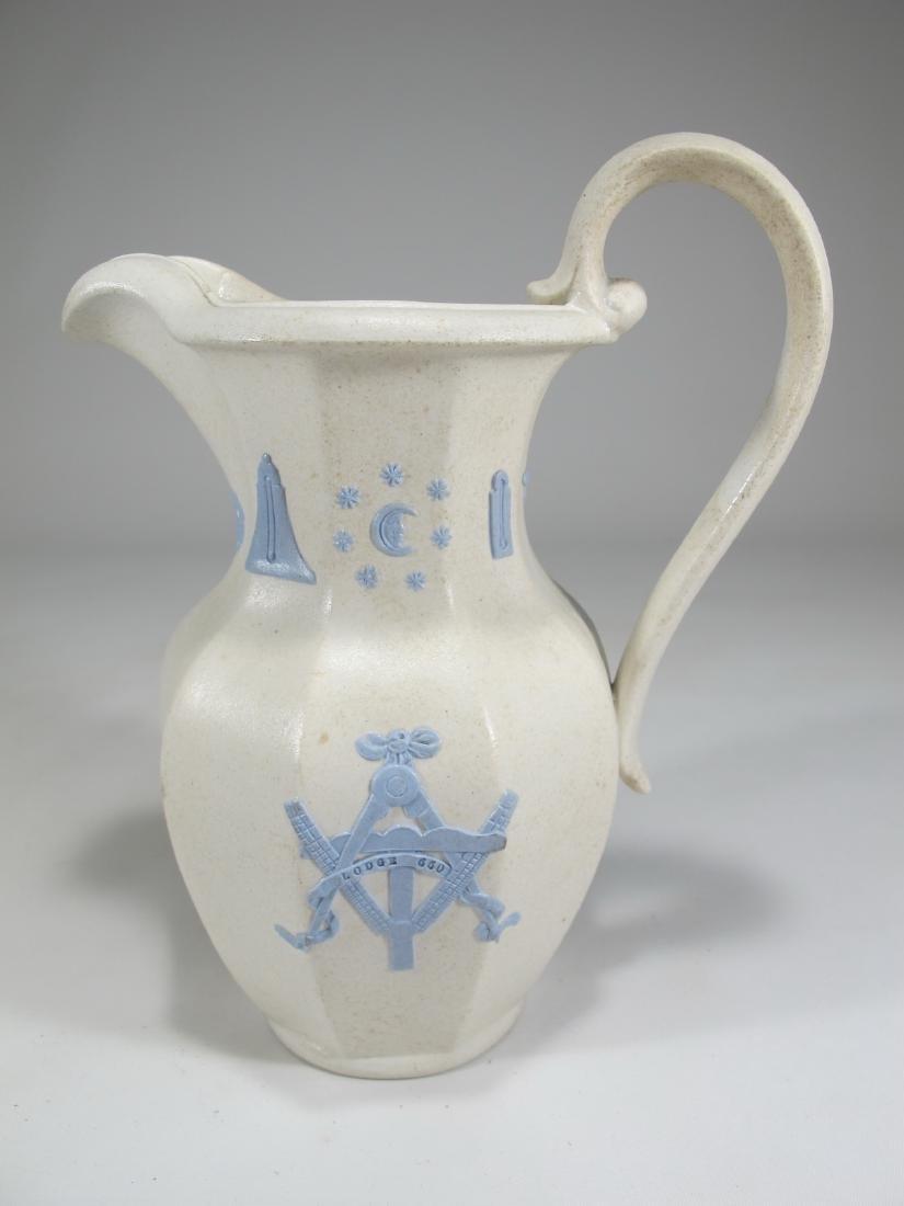 Antique English Masonic porcelain jug