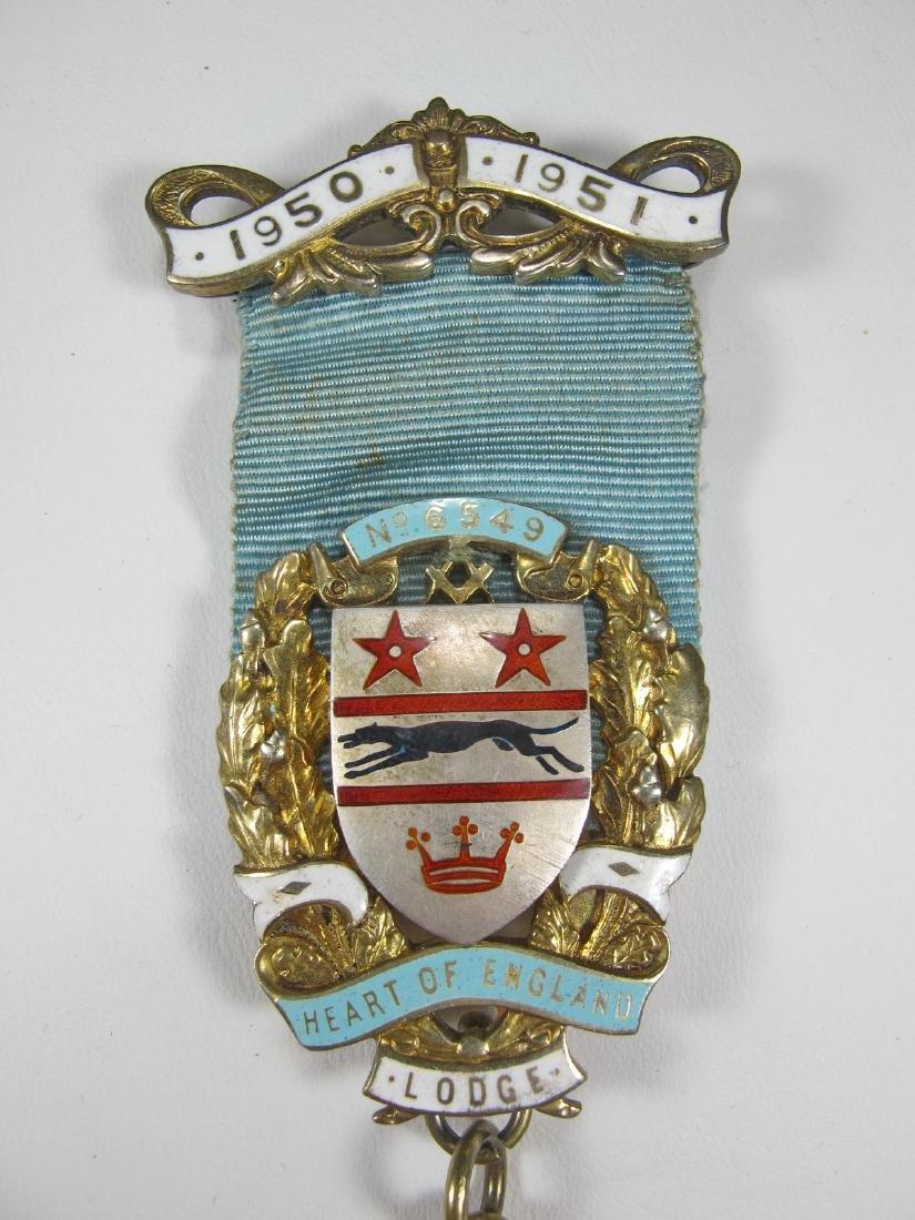 Gold on silver Past Master Masonic breast pin jewel - 2