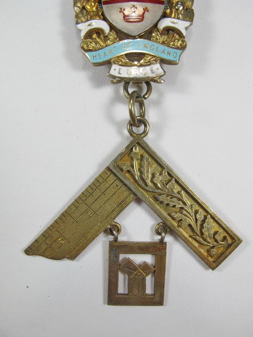 Gold on silver Past Master Masonic breast pin jewel - 3