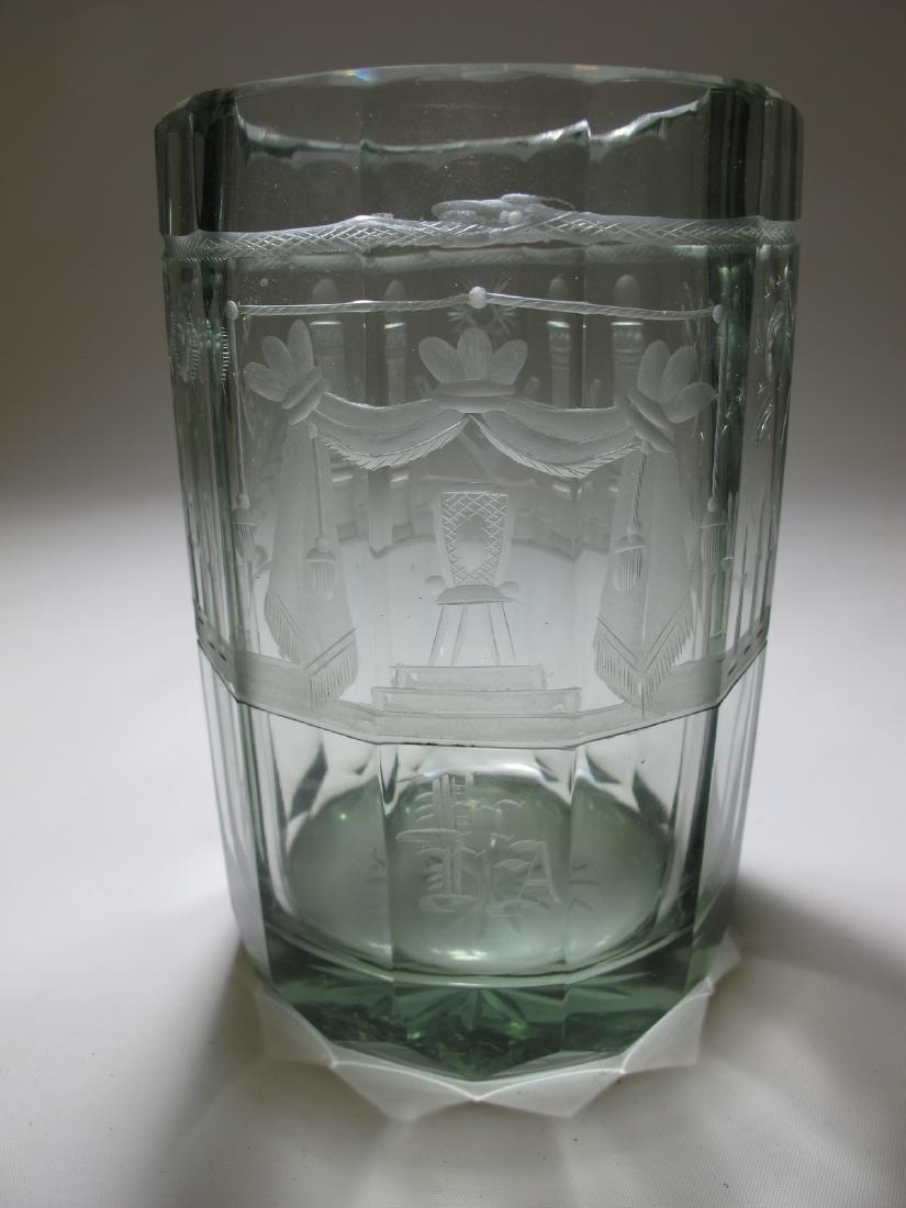 Vintage Masonic Bohemian 12 sides large glass
