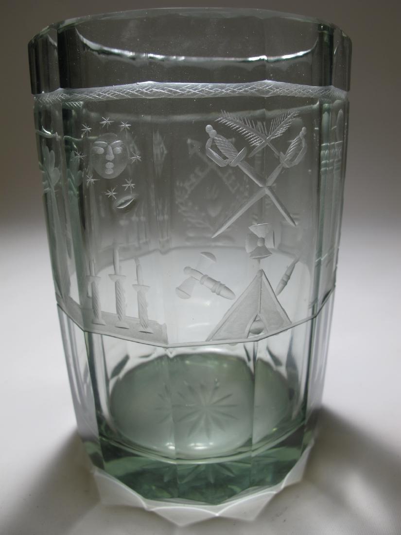 Vintage Masonic Bohemian 12 sides large glass - 3