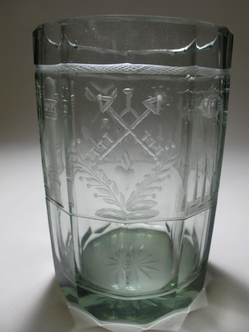 Vintage Masonic Bohemian 12 sides large glass - 5