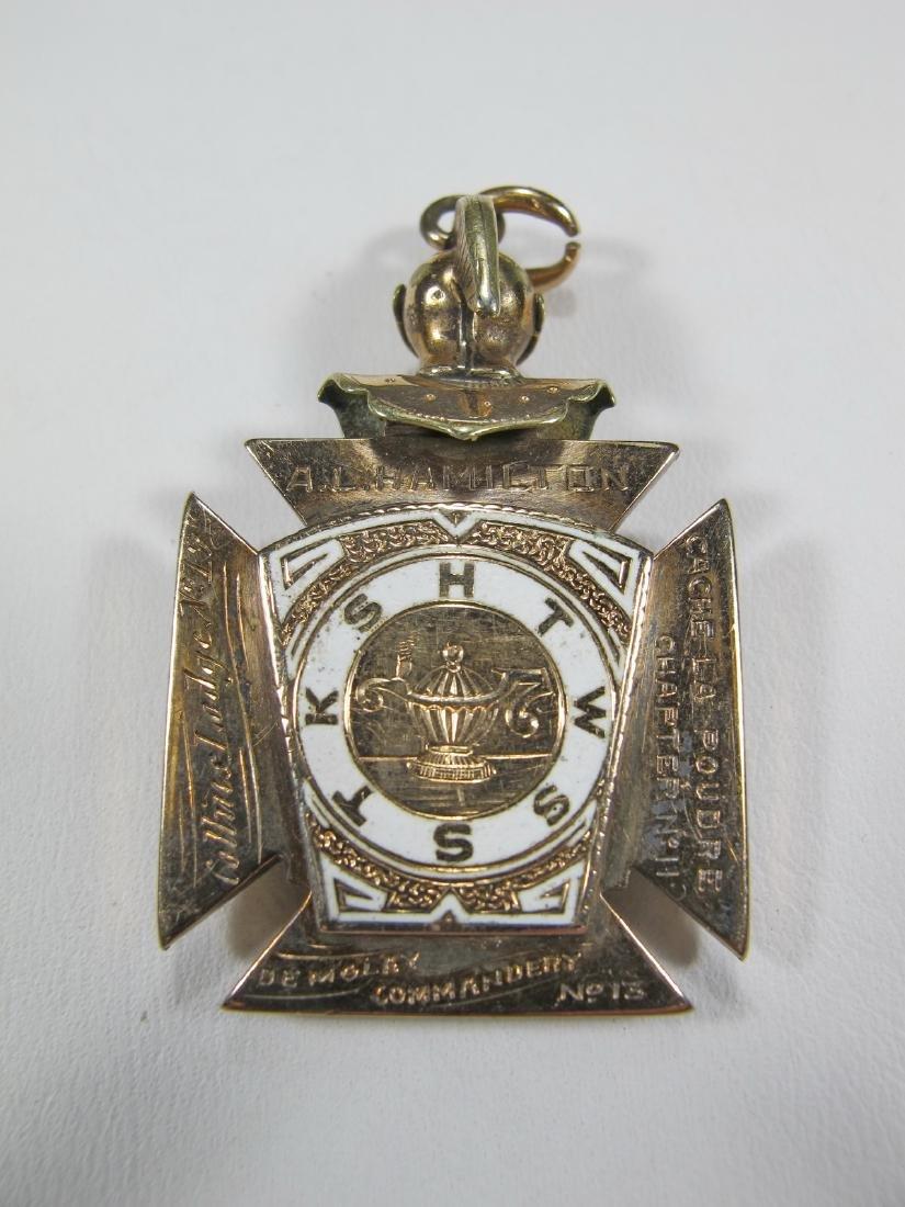 11K gold plated Scottish Rite Knights Templar watch fob - 2
