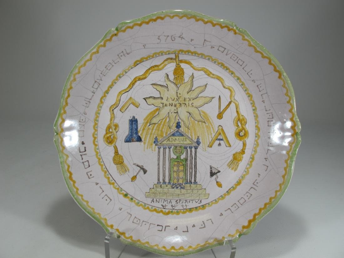 Antique Masonic French hand painted plate
