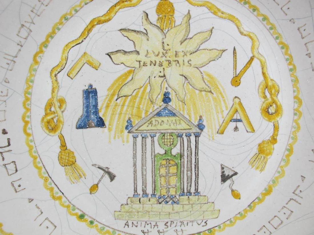 Antique Masonic French hand painted plate - 3