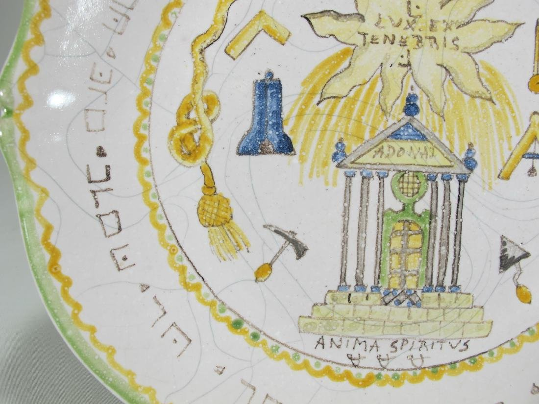 Antique Masonic French hand painted plate - 6