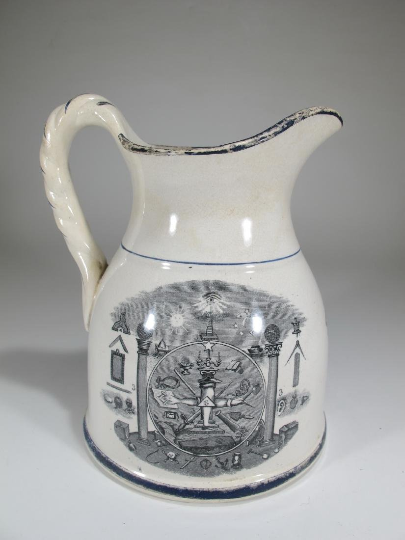 19th C Masonic cream ware porcelain jug