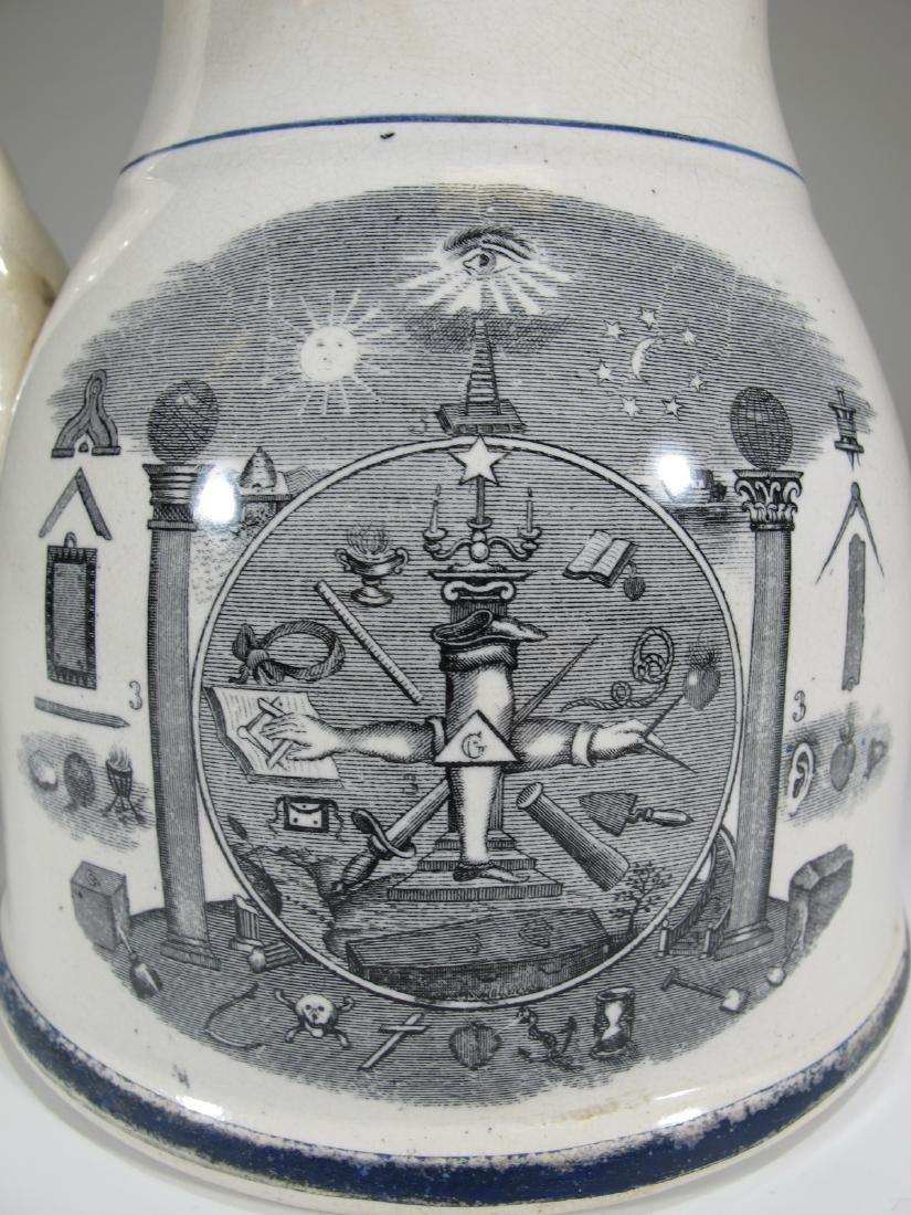 19th C Masonic cream ware porcelain jug - 2