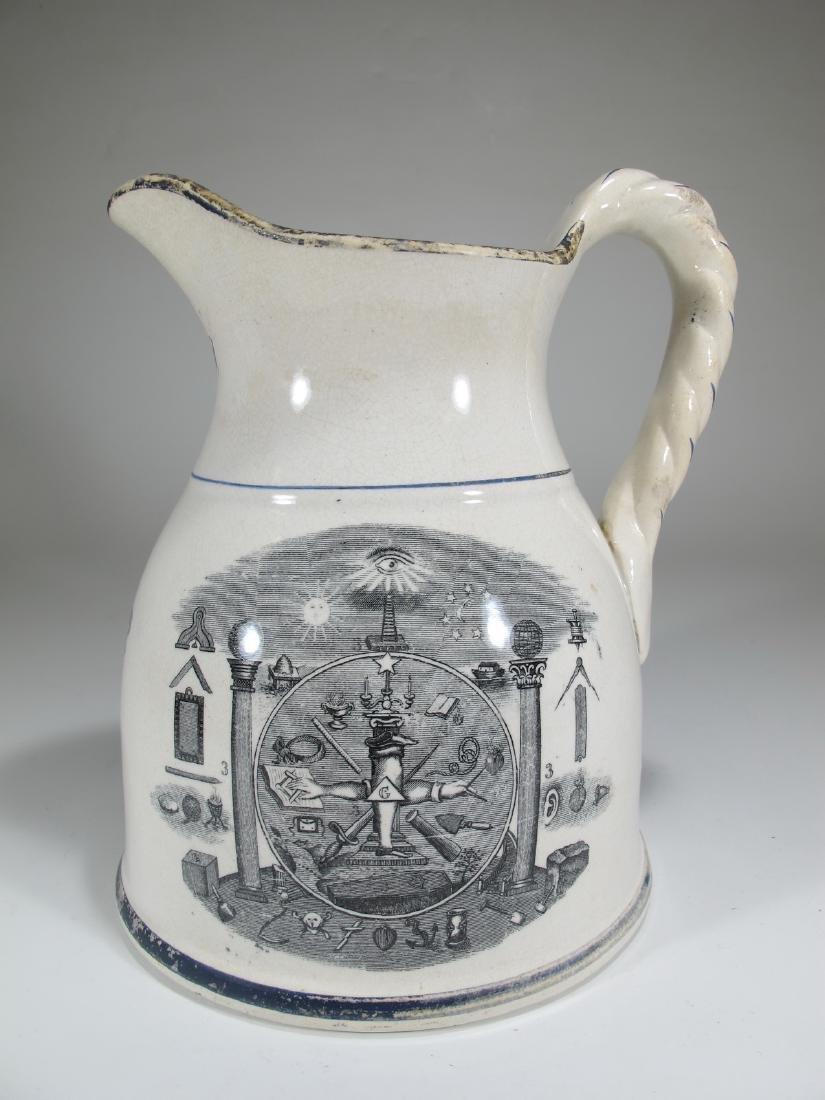 19th C Masonic cream ware porcelain jug - 4