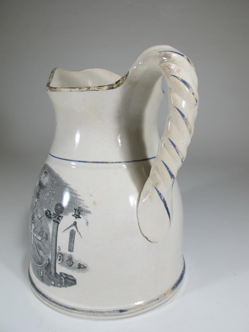 19th C Masonic cream ware porcelain jug - 6