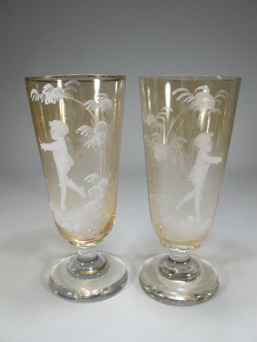 Antique pair of English Mary Gregory glasses