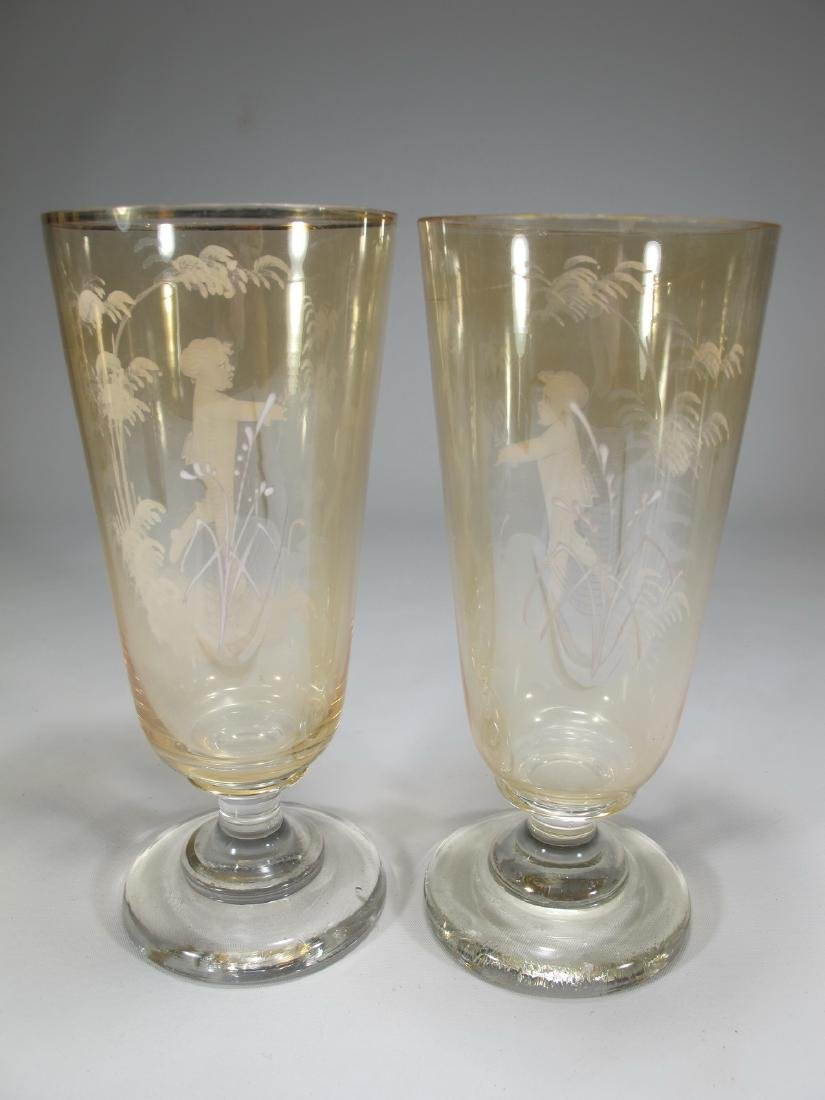 Antique pair of English Mary Gregory glasses - 7