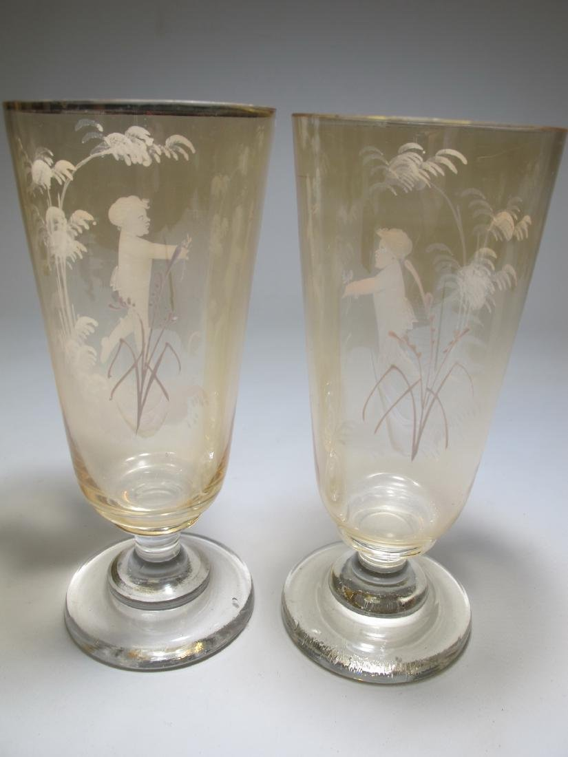 Antique pair of English Mary Gregory glasses - 8
