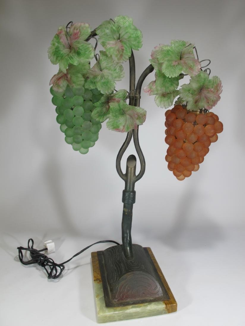 Vintage French glass grapes & bronze table lamp
