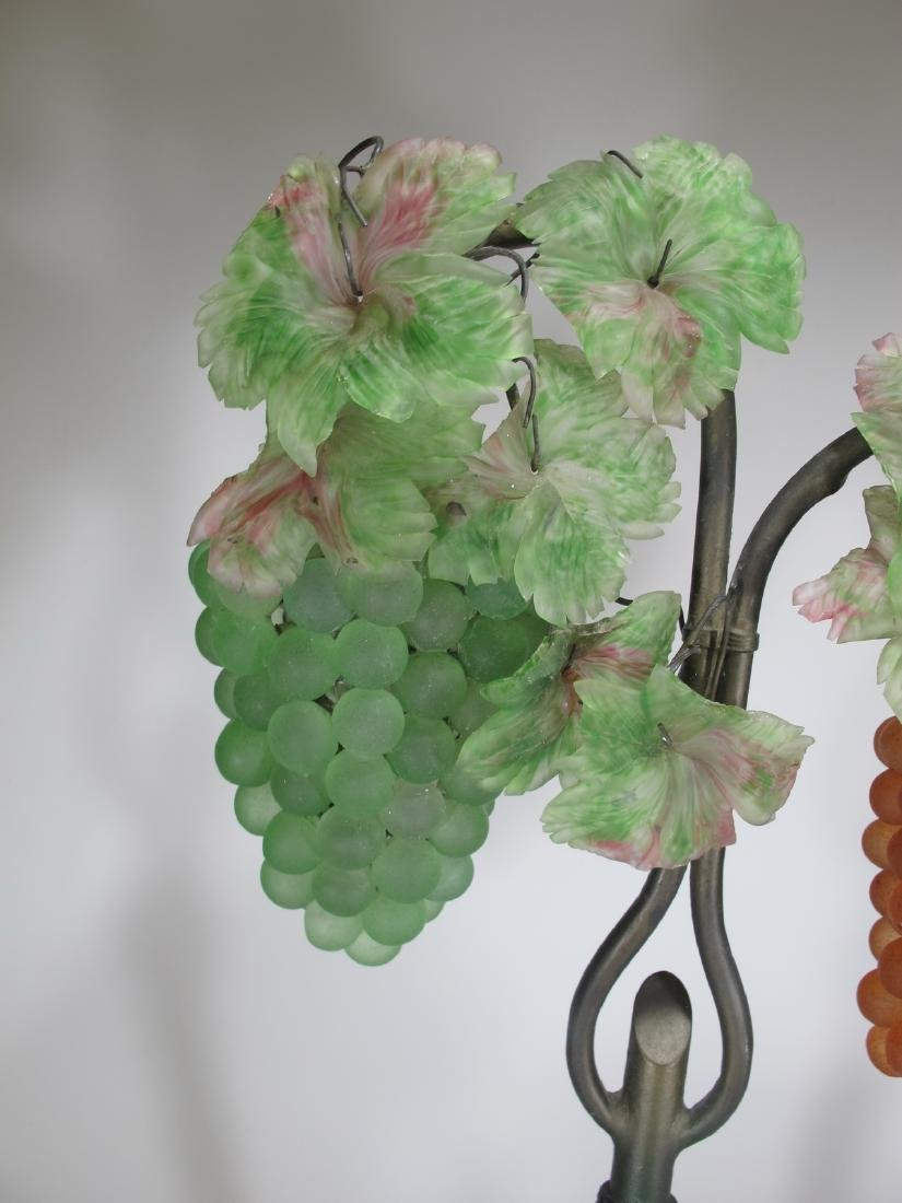 Vintage French glass grapes & bronze table lamp - 4