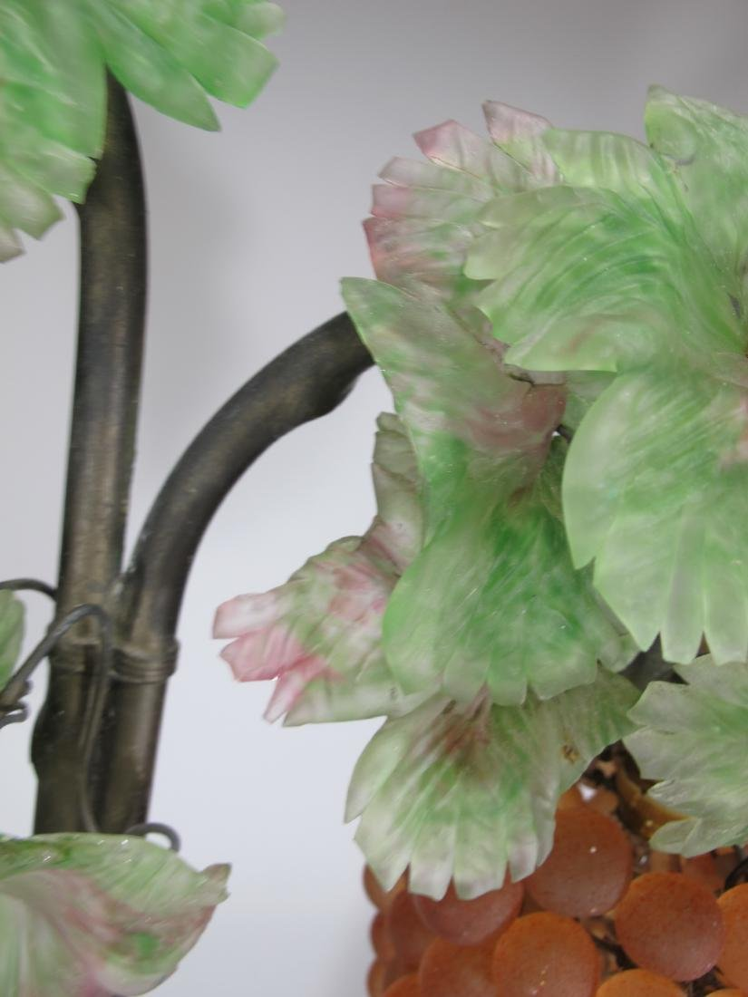 Vintage French glass grapes & bronze table lamp - 5