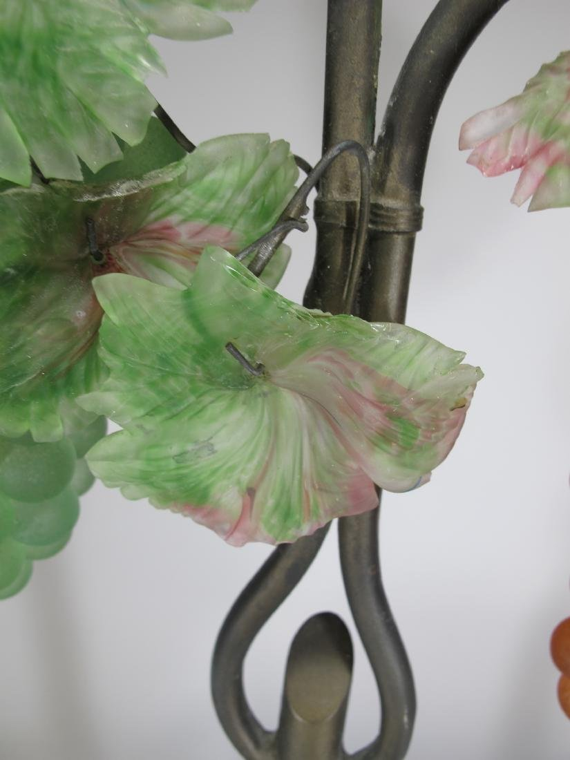 Vintage French glass grapes & bronze table lamp - 8