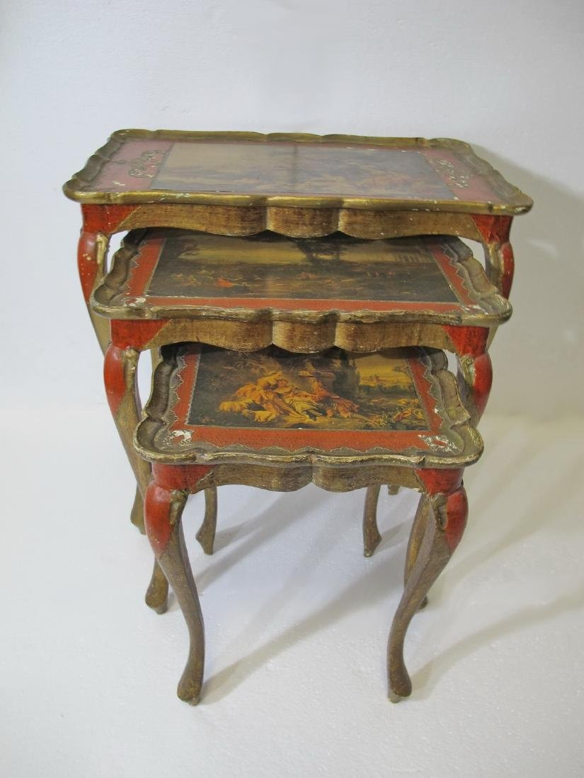 Vintage set of French 3 in 1 side tables