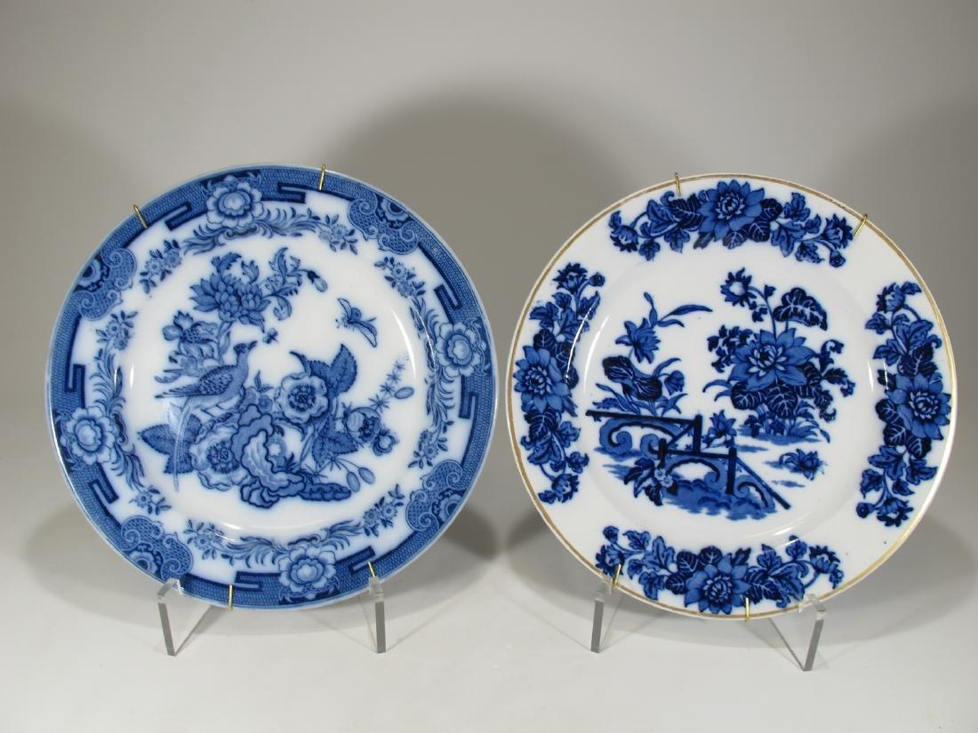 2 Antique English flow blue porcelain plates