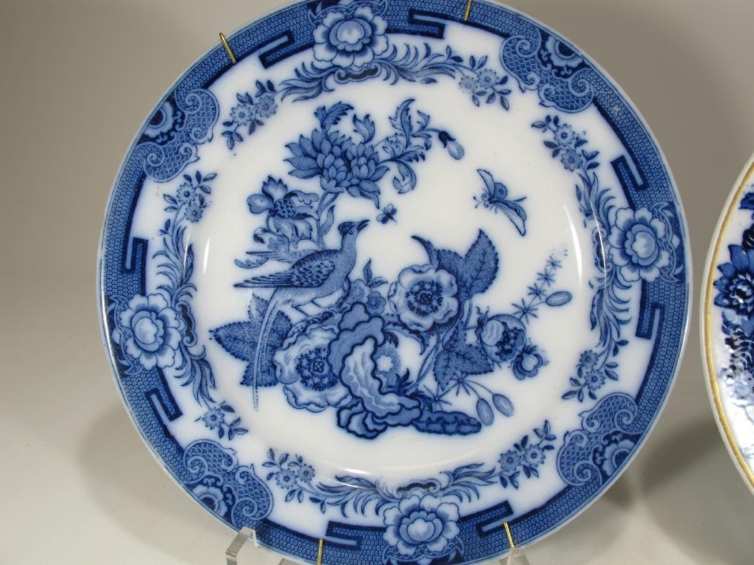 2 Antique English flow blue porcelain plates - 2