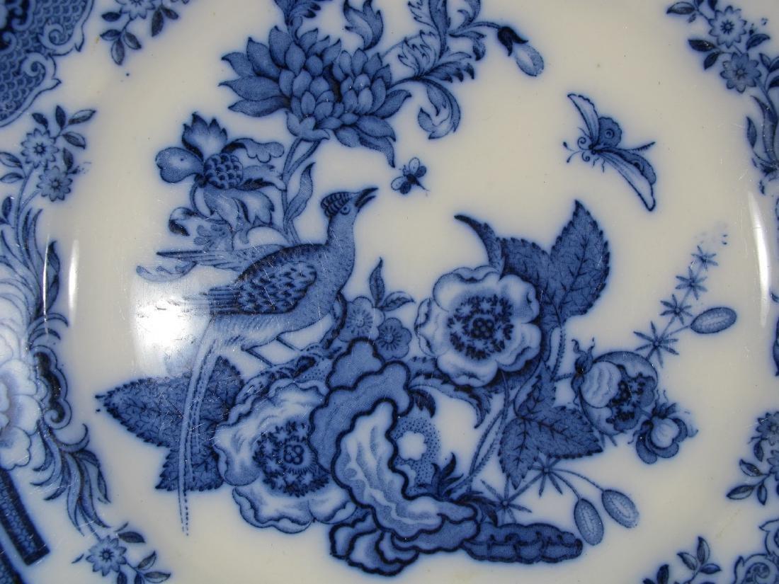 2 Antique English flow blue porcelain plates - 3