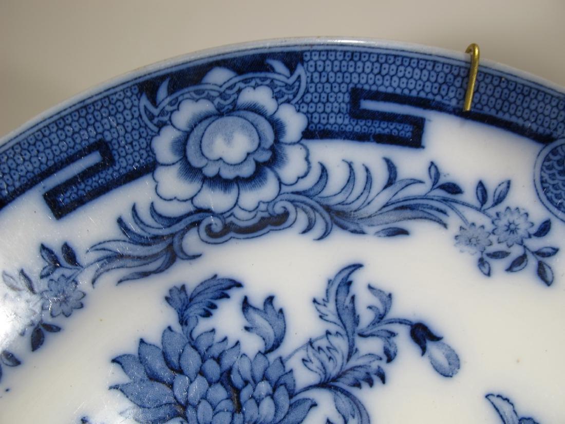 2 Antique English flow blue porcelain plates - 4