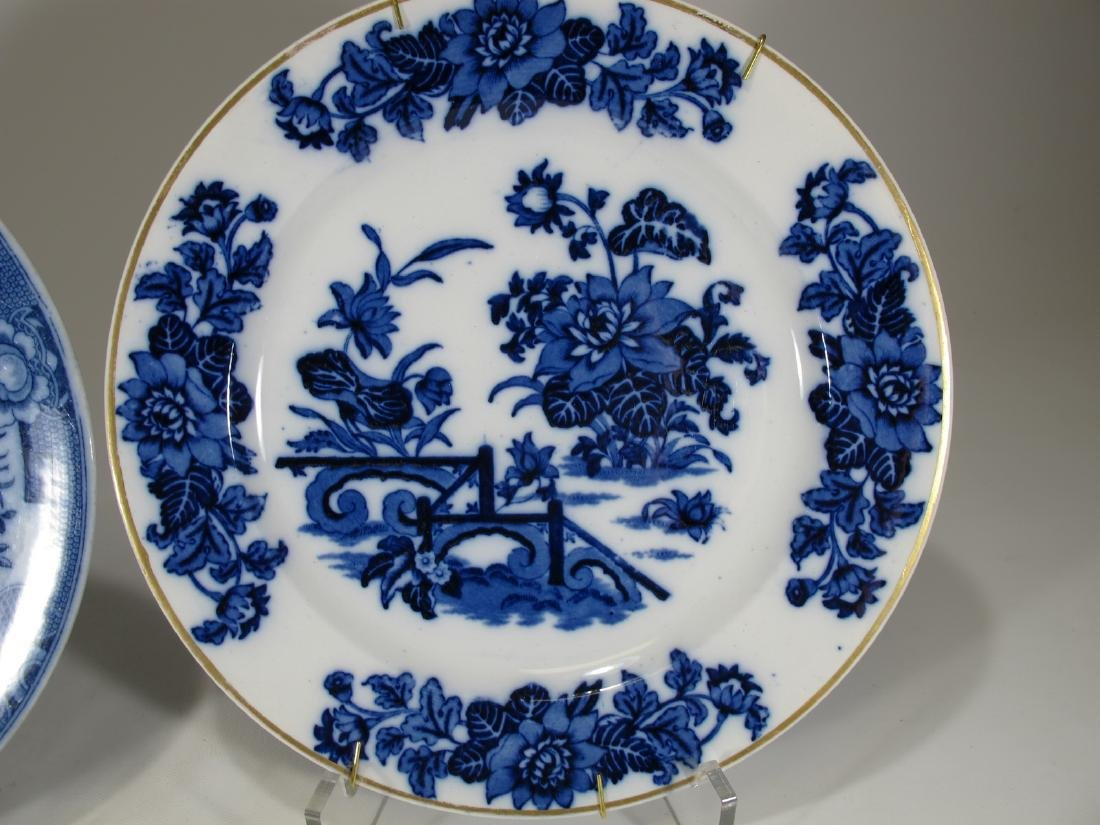 2 Antique English flow blue porcelain plates - 5