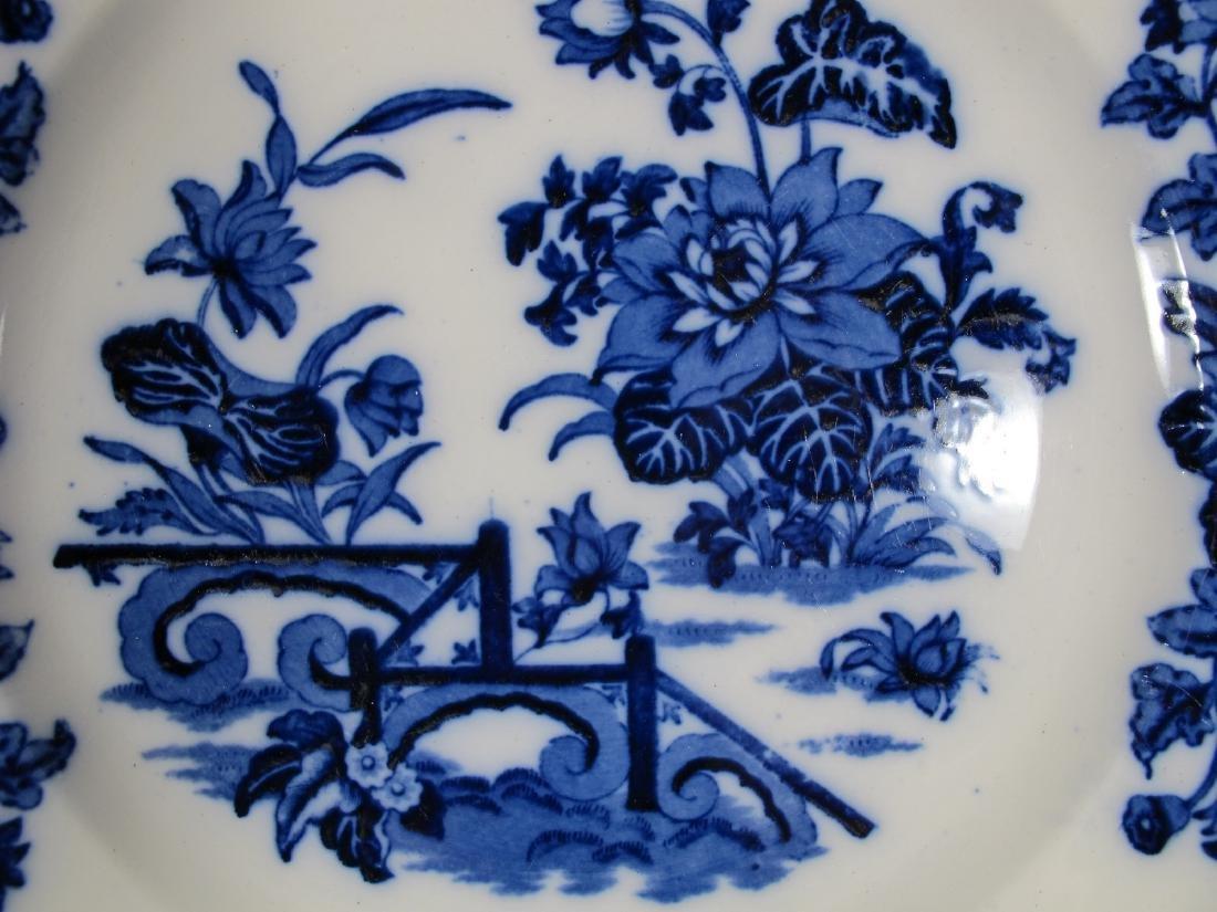 2 Antique English flow blue porcelain plates - 6