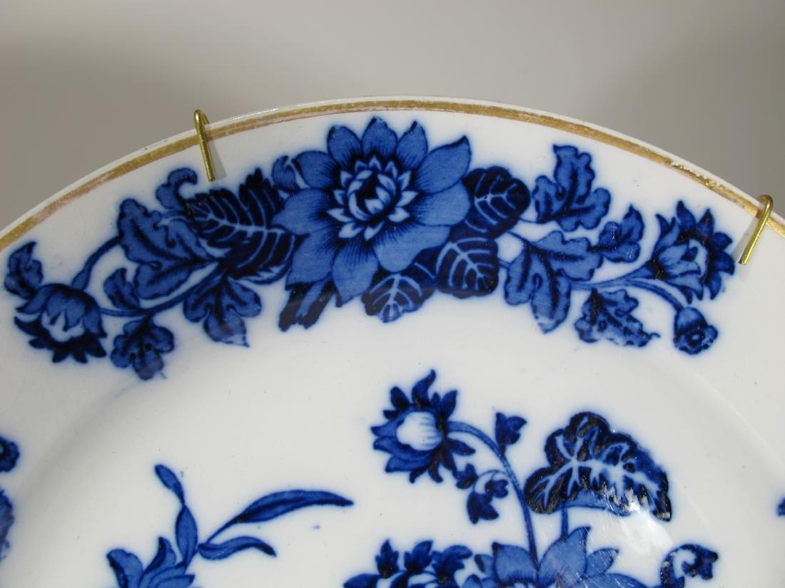 2 Antique English flow blue porcelain plates - 7