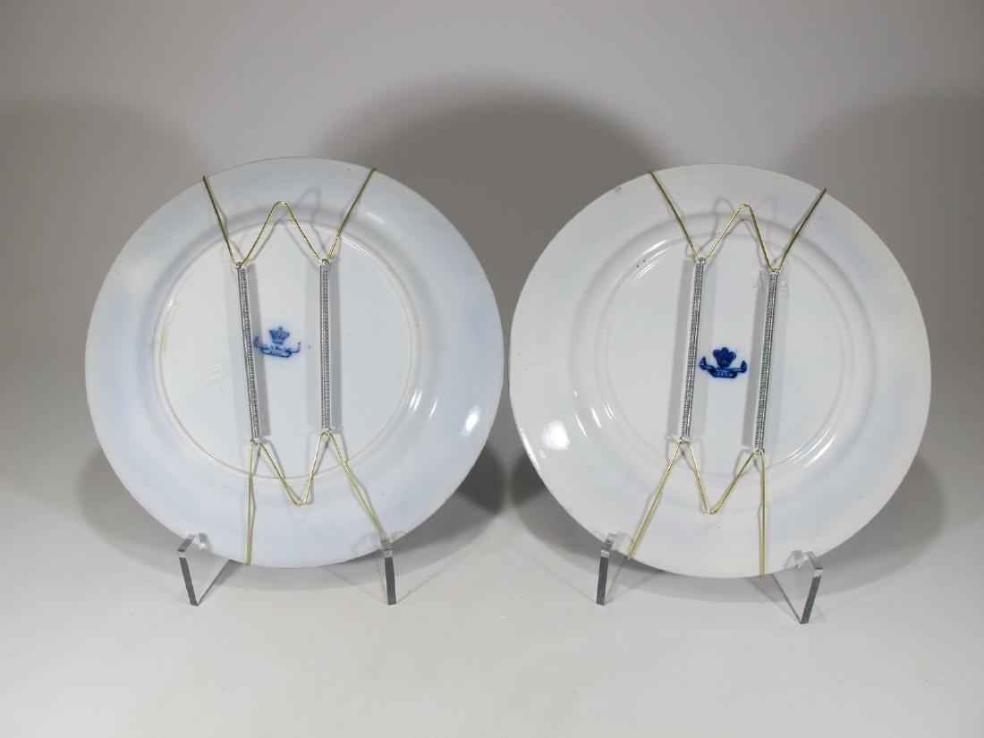 2 Antique English flow blue porcelain plates - 8