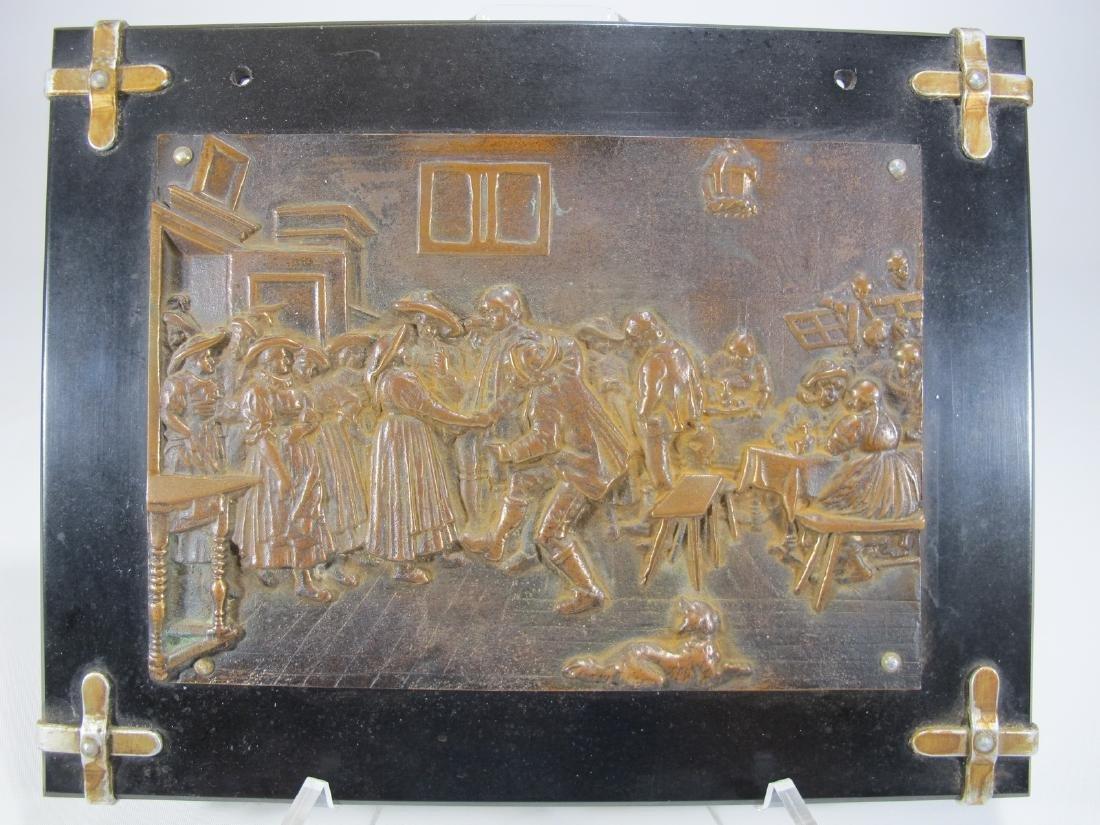 Antique French bronze & onyx plaque