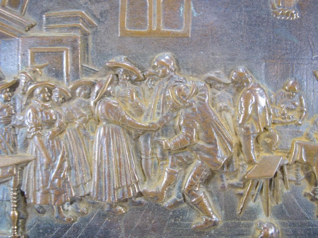 Antique French bronze & onyx plaque - 2
