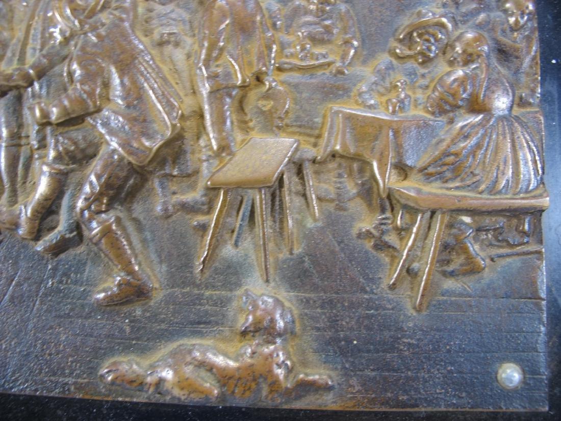 Antique French bronze & onyx plaque - 3