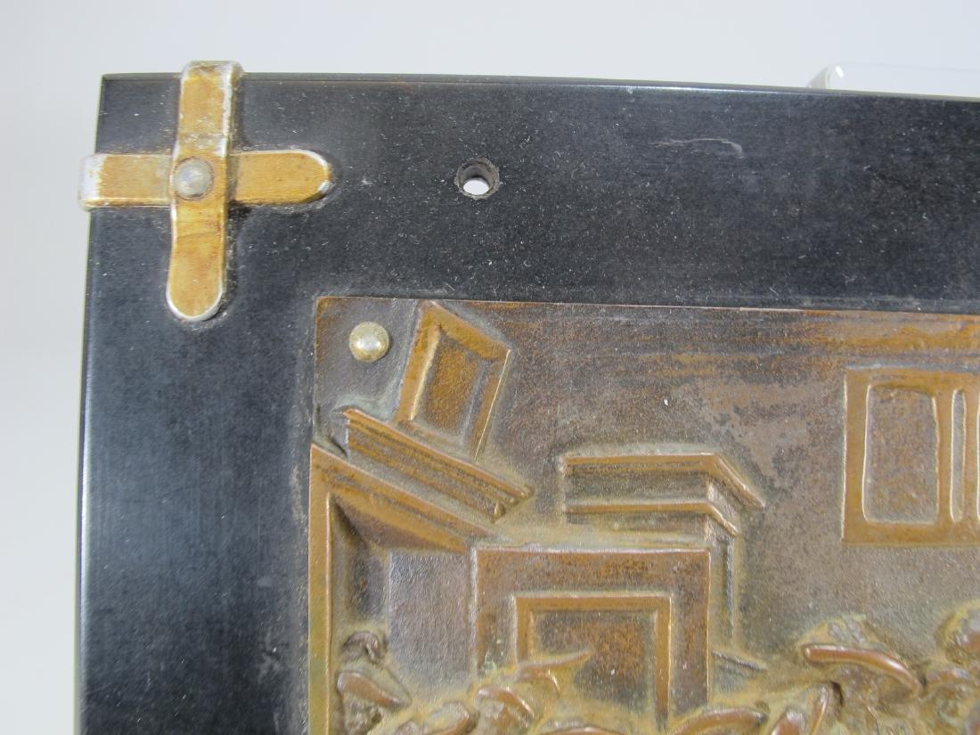 Antique French bronze & onyx plaque - 4