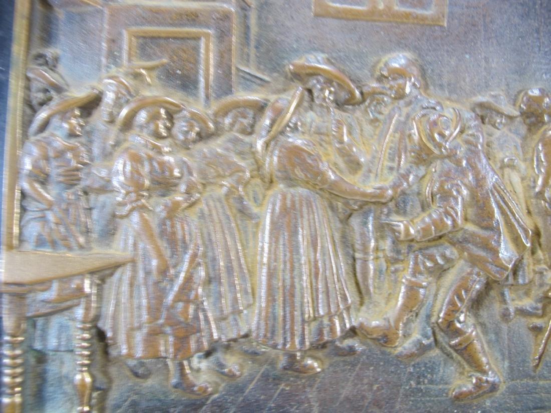 Antique French bronze & onyx plaque - 5