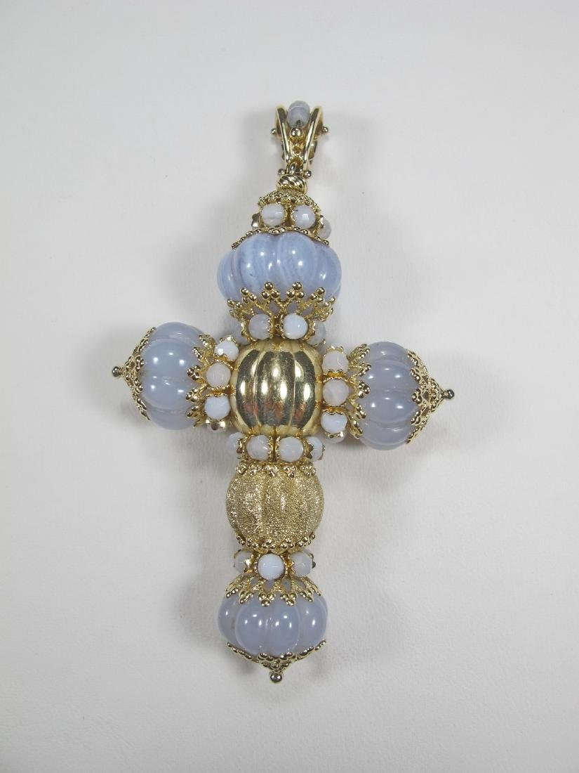 Vintage 14k gold & opal cross, Italy