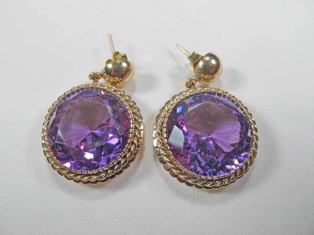 Antique 14k yellow gold & amethyst earings